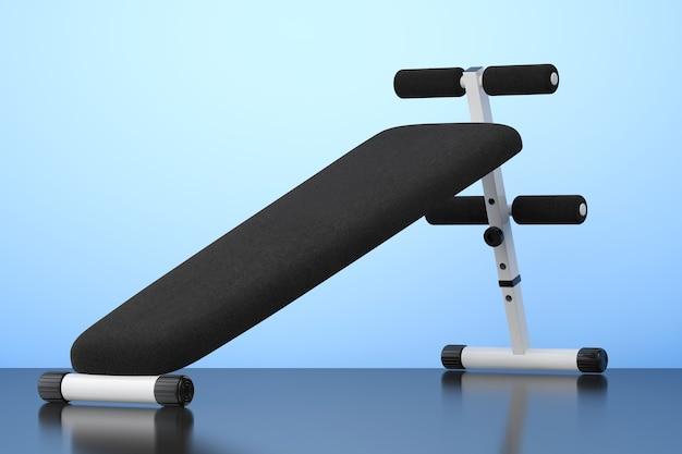 Скамья для упражнений. тренажерный зал на синем фоне. 3d рендеринг