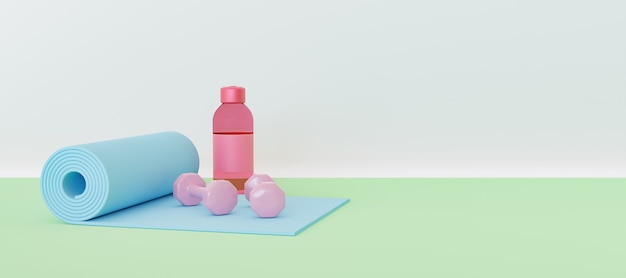Exercise mat with small dumbbells and water bottle with pastel color
