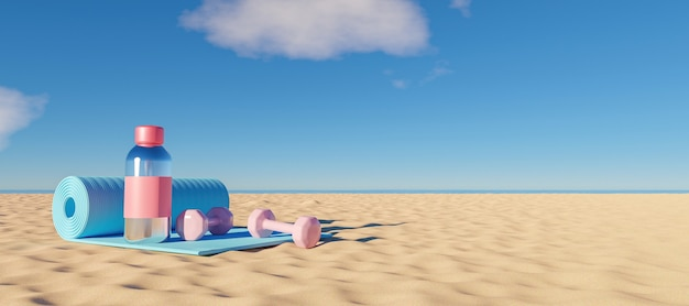 Exercise mat with water bottle and weights on the beach sand with the sea in the background