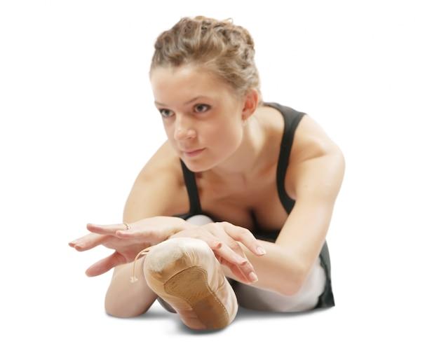 Exercising dancer. focus on shoe