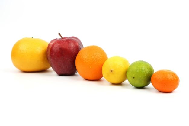 白いテーブルにたくさんの果物を展示