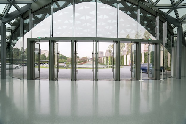 Exhibition hall entrance hall and glass windows