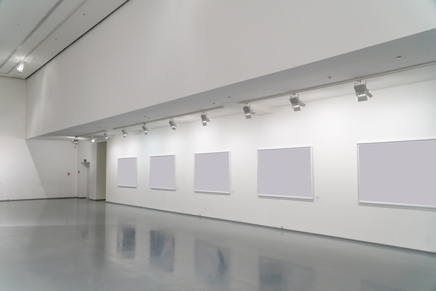 Exhibition room of the gallery with blank pictures