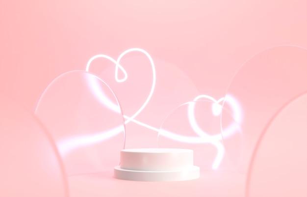 Выставка круглый цилиндрический подиум с неоновыми светящимися сердцами на розовом фоне