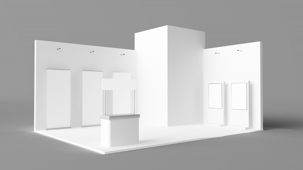Exhibition stand with pos, pois, reception desk and rollers
