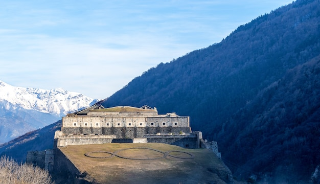 Exilles fort, fortified complex in the susa valley, metropolitan city of turin, piedmont, northern italy.