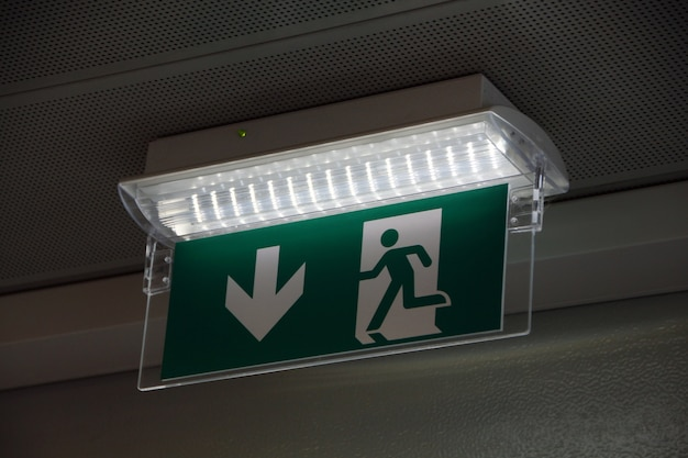 Exit sign closeup
