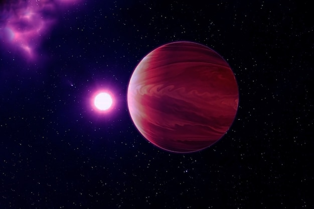 Exoplanet in a far dark space. elements of this image were furnished by nasa. high quality photo