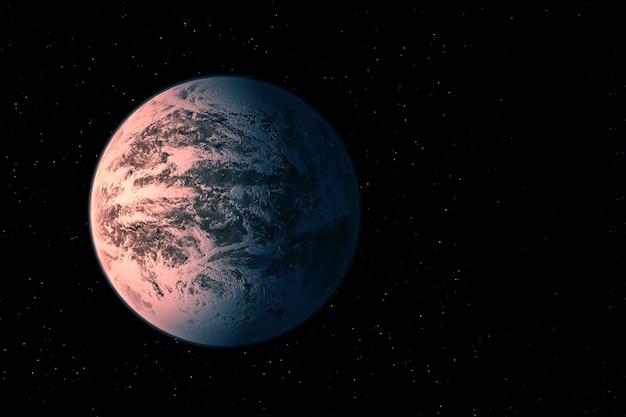 Экзопланета в далеком темном космосе. элементы этого изображения были предоставлены наса. фото высокого качества