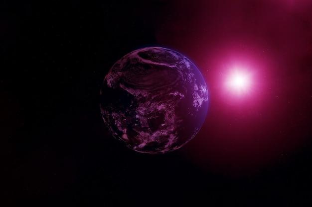 아주 어두운 공간에 있는 외계행성. 이 이미지의 요소는 nasa에서 제공했습니다. 고품질 사진