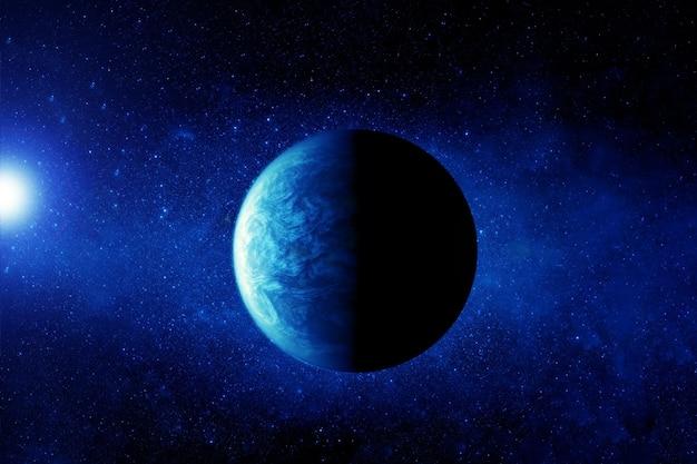 Экзопланета в глубоком космосе. в синем. элементы этого изображения были предоставлены наса. фото высокого качества