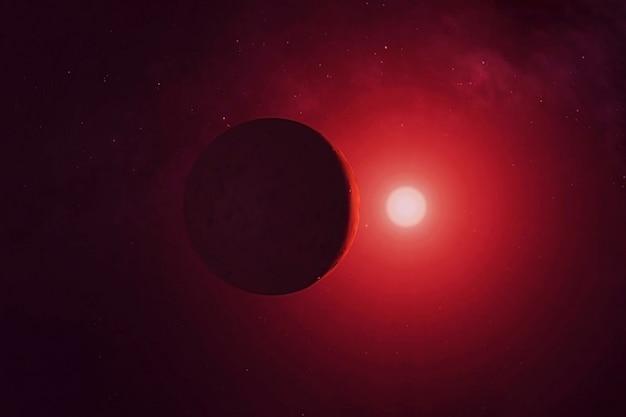 星の暗い側にある太陽系外惑星この画像の要素はnasaによって提供されました
