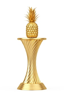 Концепция экзотической премии. золотая награда трофей свежие зрелые тропические здоровые фрукты ананаса питания на белом фоне. 3d рендеринг