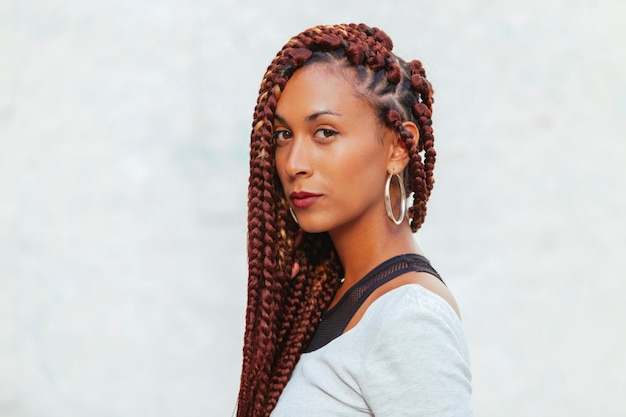 Exotic black woman with long braids