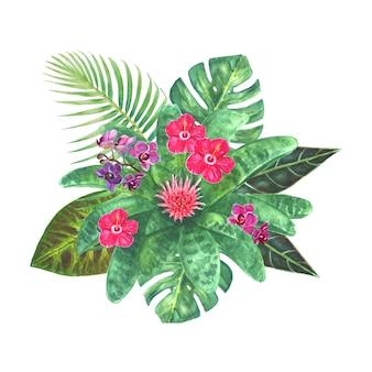 明るい熱帯の花、緑の葉、白い背景で隔離の枝とエキゾチックな花束。結婚式の招待状、グリーティングカードの水彩画手描き自然植物の古典的なイラスト。