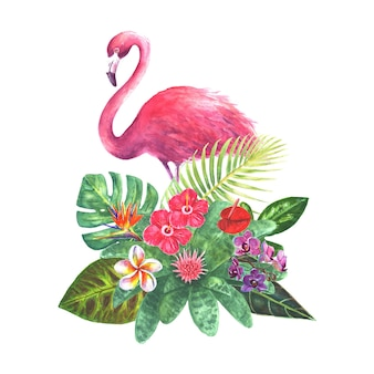 Exotic bouquet with pink flamingo green tropical leaves branches and bright flowers