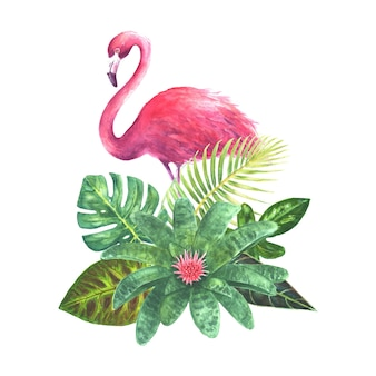 Exotic bouquet with pink flamingo