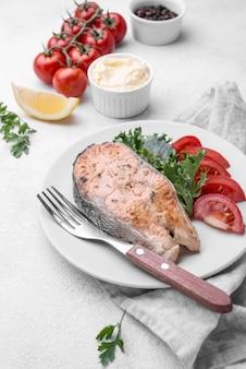 Exotic cut slice of seafood salmon and lemon