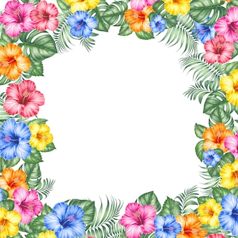 Exotic flowers frame