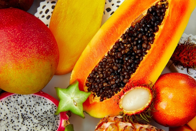 Exotic fruits background, great design for any purposes. exotic food.