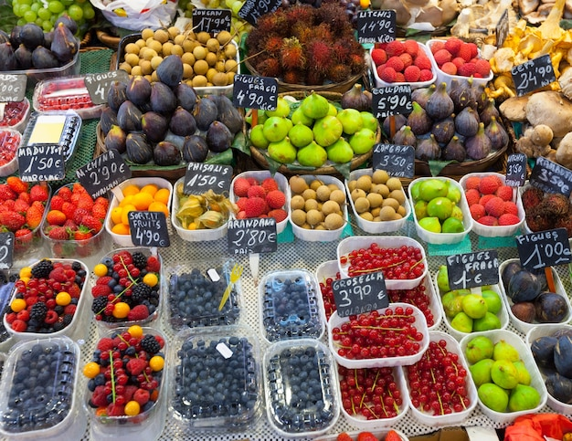 Exotic fruits and berries on  counter