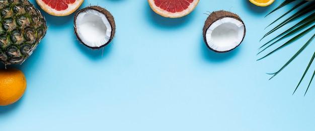 파란색 바탕에 이국적인 과일입니다. 파인애플, 코코넛, 오렌지, 자몽