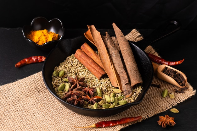 Exotic herbal food concept mix of the organic spices in slilet cast