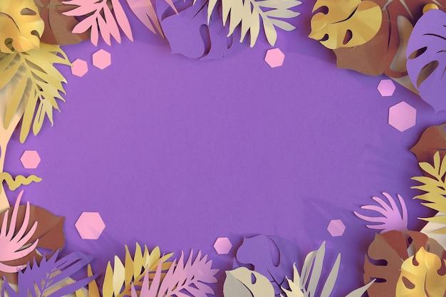 이국적인 손바닥과 몬스 테라 종이 잎. 보라색 종이 배경, 평면 위치, 복사 공간에 실루엣.