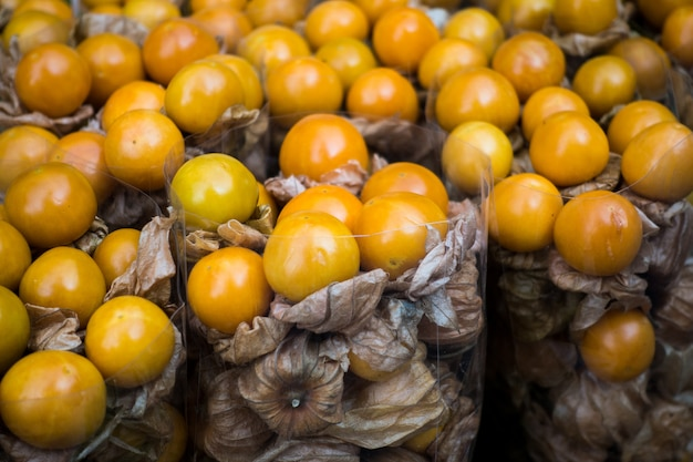 Exotic physalis fruit on a market