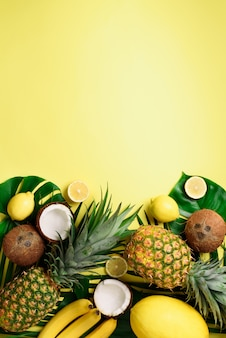 Exotic pineapples, ripe coconuts, banana, melon, lemon, tropical palm and green monstera leaves