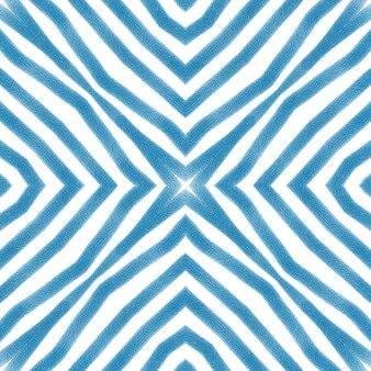 이국적인 완벽 한 패턴입니다. 파란색 대칭 만화경 배경입니다. 여름 수영복 이국적인 원활한 디자인. 섬유 준비 예쁜 인쇄, 수영복 원단, 벽지, 포장.