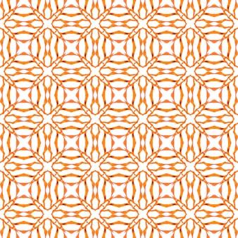エキゾチックなシームレスパターン。オレンジの魅惑的な自由奔放に生きるシックな夏のデザイン。テキスタイルレディの素晴らしいプリント、水着生地、壁紙、ラッピング。夏のエキゾチックなシームレスボーダー。