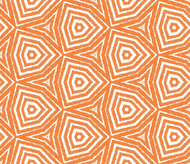 이국적인 완벽 한 패턴입니다. 오렌지 대칭 만화경 배경입니다. 직물 준비 좋아하는 인쇄, 수영복 직물, 벽지, 포장. 여름 수영복 이국적인 매끄러운 디자인.