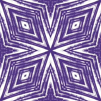 エキゾチックなシームレスパターン。紫の対称的な万華鏡の背景。夏の水着エキゾチックなシームレスデザイン。テキスタイル対応の素晴らしいプリント、水着生地、壁紙、ラッピング。