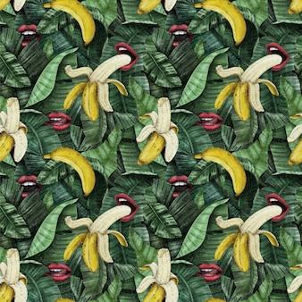 バナナ、葉、唇のエキゾチックな熱帯のパターン。手描き。生地、壁紙、ギフト用紙のデザインに最適なソリューション