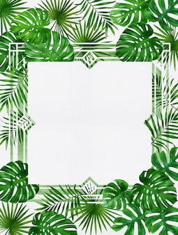 Exotic tropical plant rainforest bright green palm monstera leaves border frame