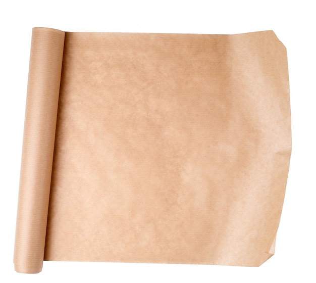 Expanded brown paper roll on a white