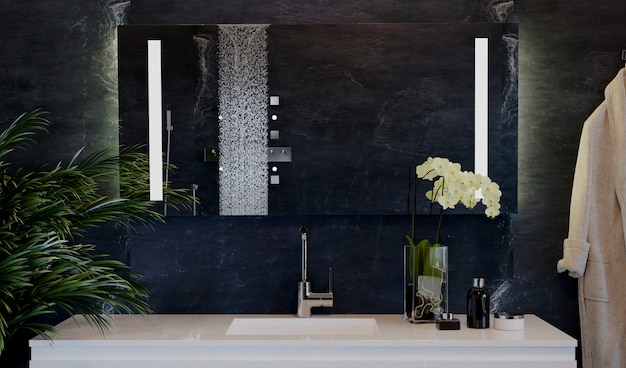 샤워 시설을 갖춘 비싼 욕실 인테리어. 프리미엄 사진