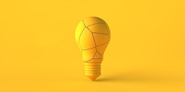 깨진 전구로 인해 비싼 전기 비용. 개념. 공간을 복사합니다. 3d 그림입니다.