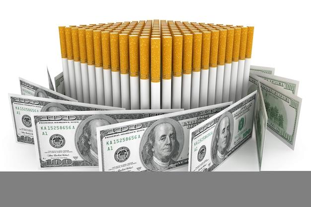 비싼 습관과 금연 개념. 흰색 바탕에 담배와 달러 지폐