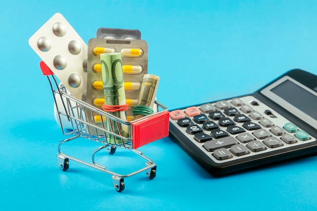 高価な医療。薬とユーロ、電卓が入ったショッピングカート。