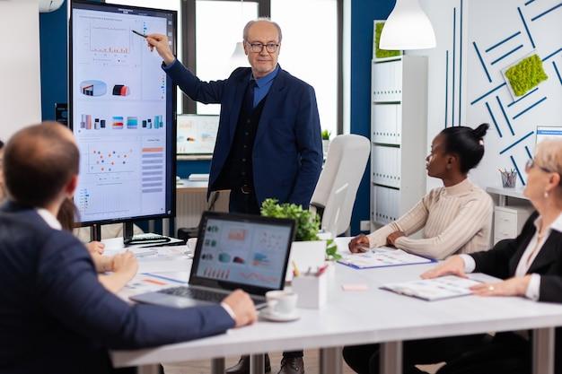 디지털 장치를 사용하여 브레인스토밍 룸에서 비즈니스 회의 중 재무 프레젠테이션을 분석하는 경험 많은 프로젝트 리더. 전문 스타트업 금융에서 일하는 다민족 기업인