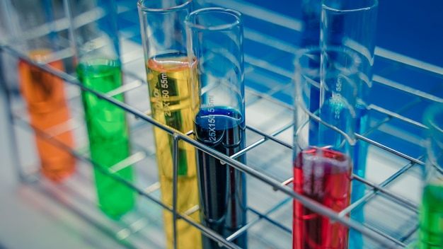 Experiment tubes in science laboratory