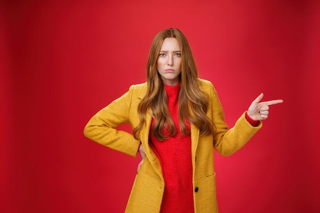 今すぐ説明してください。質問をして説明を待っている、怒ってふくれっ面をして、赤い壁の上のカメラを不幸に見ている指で右を指して、動揺して悲観的で悲しいかわいい赤毛の女の子の肖像画。