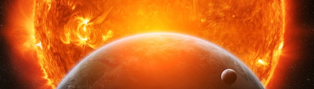 惑星地球3dレンダリングの近くで爆発 Premium写真