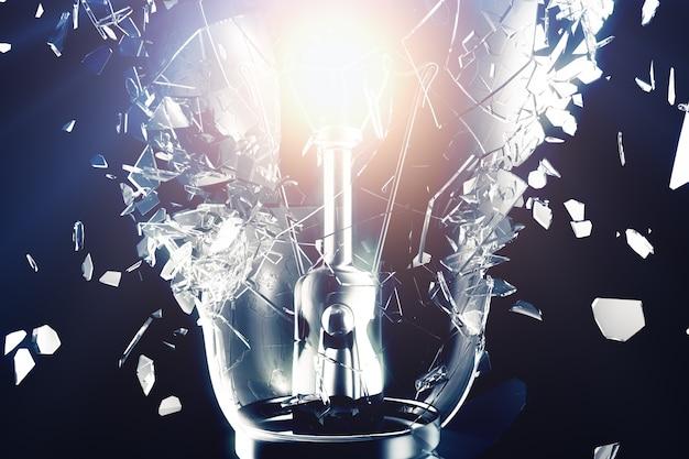 Exploding light bulb on a blue