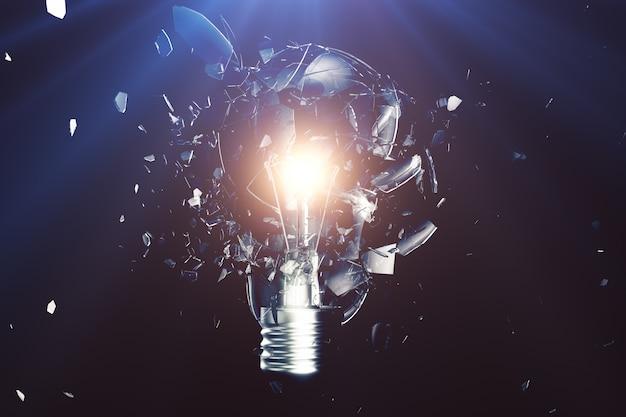 Взрывающаяся лампочка на синем фоне, с концепцией творческого мышления и инновационными решениями. 3d рендеринг