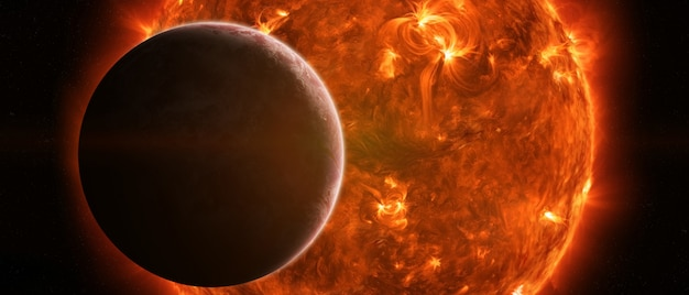 Exploding sun in space close to planet earth