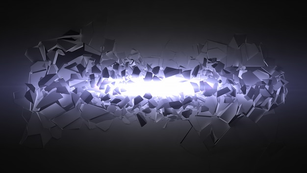Exploding wall with light beam.