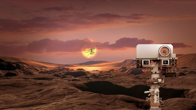 Exploration of the planet mars using a mars rover and a droneelements of this image furnished by nasa d illustration